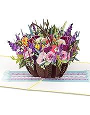 PaperCrush® Pop-up gratulationskort med korg med färgglada blommor – 3D-blomkort för flickvän eller mamma (födelsedagskort, milstolpe, födelsedag, krya på kort)