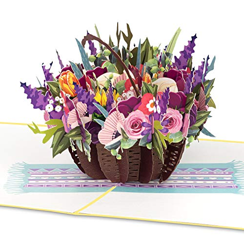 """PaperCrush® Pop-Up Karte Blumen """"Bunter Blumenkorb"""" - 3D Blumenkarte für Freundin, Frau oder Mutter (Geburtstagskarte, Runder Geburtstag, Muttertag) - Popup Glückwunschkarte mit Blumenstrauß"""