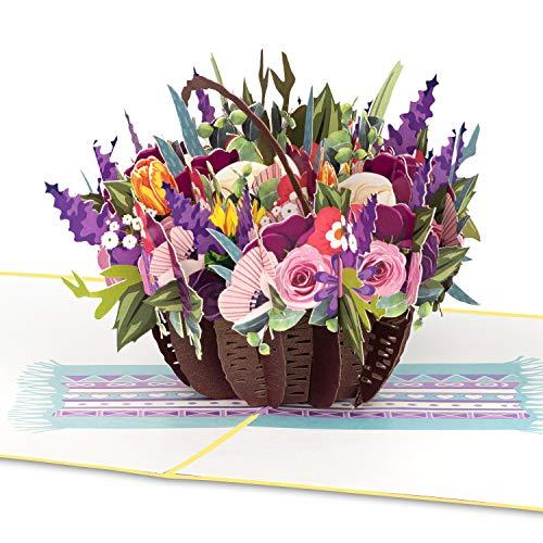 """PaperCrush Pop-Up Karte Blumen """"Bunter Blumenkorb"""" - 3D Blumenkarte für Freundin, Frau oder Mutter (Geburtstagskarte, Runder Geburtstag, Muttertag) - Popup Glückwunschkarte mit Blumenstrauß"""