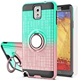Galaxy Note 3 Case,Note 3 Phone Case with HD Screen Protector,AYMECL Ring Holder Gradient Dual Layer Protective Case for Samsung Galaxy Note 3 5.7 inch-BG Mint&Rose Gold