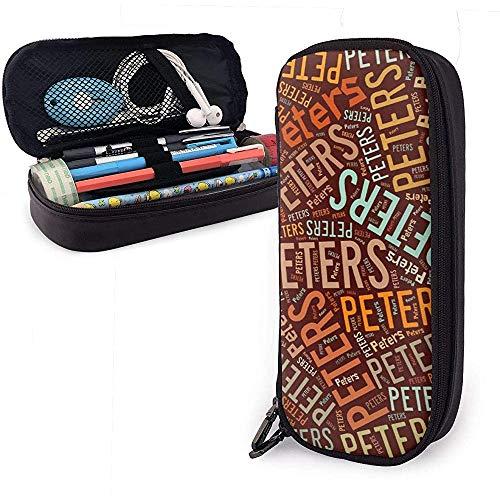 Peters - Estuche de lápices de cuero de gran capacidad de apellido americano, bolígrafo, lápiz, papelería, organizador, organizador de oficina, pluma de maquillaje, bolsa de papelería para estudiantes