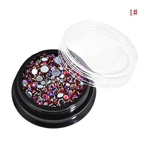 KCT Cadenas de cristal 3D Mini cuentas Nail Art Rhinestone Manicura Oro DIY Consejos mixtos (rojo)