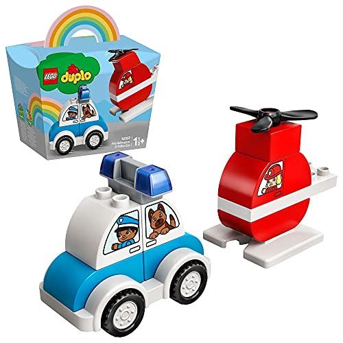 LEGO DUPLO Elicottero Antincendio e Auto della Polizia, Costruzioni per Bambini 1,5 Anni, 10957