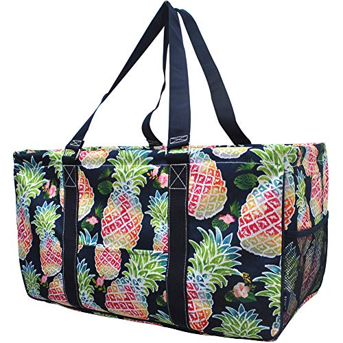 NGIL All Purpose Open Top 23' Classic Extra Large Utility Tote Bag 2019 Collection (Tropical Pineapple Navy), X-Large