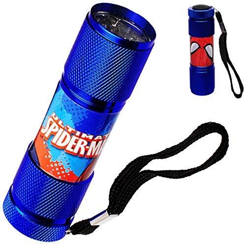 alles-meine.de GmbH Taschenlampe LED - Spider-Man - aus Metall - Mini Lampe / Schlüsselanhänger - 9 Fach LEDlicht - Licht Auto Kindertaschenlampe für Jungen - Metalltaschenlampe ..
