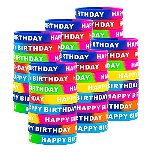 48pcs Happy Birthday Rubber Bracelets, Colored Silicone Stretch Wristbands for Birthday Party Supplies Favors