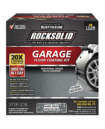 Rust-Oleum 317286 Rocksolid Polycuramine Garage Floor Coating, 1 Car Kit, Dark Gray
