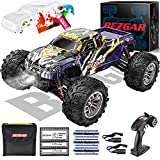 BEZGAR HM164 Brushless Hobby Grade 1:16 Scale Remote Control Truck, 4WD High Speed 52+ kmh All Terrains Off Road RC Monster Vehicle Car Crawler with 3 Rechargeable Batteries for Boys Kids and Adults
