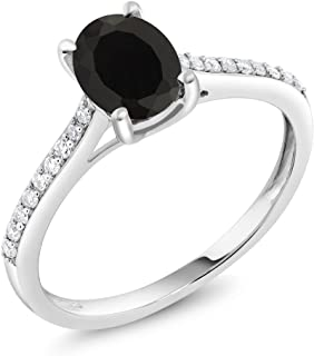Gem Stone King 10K White Gold Black Onyx and Diamond Engagement Solitaire Ring 1.35 cttw 8x6mm Oval (Available 5,6,7,8,9)