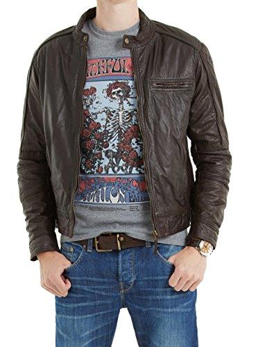 Chaqueta de piel de oveja acolchada para hombre con cremallera para motociclista Moto Slim Fit chaqueta NLJUK248