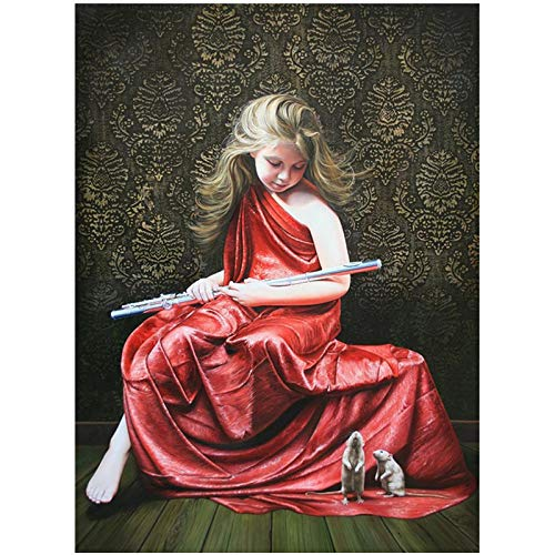 SiJOO Digitale Malerei DIY40x50 rot weibliche Flötenspieler Figur Leinwand Hochzeit Dekoration Kunst Bild Geschenk