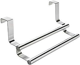 Wenko 79172100 Twin deur handdoekenrek, met 2 staven, handdoekenrek voor kastdeuren, roestvrij staal, 23,5 x 10,5 x 8,5 c...