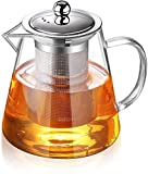 Tetera de cristal transparente con infusor de acero inoxidable resistente al calor, infusor de vidrio de borosilicato 304, tapa de acero inoxidable perfecta para té y café (750 ml)