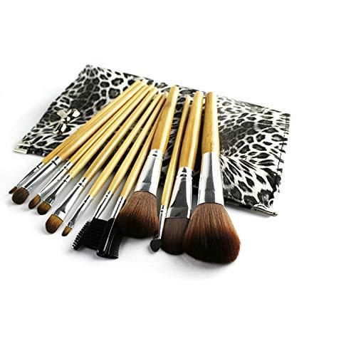 HZT 12 Poignées De Bûche, Kits De Maquillage De Sac Léopard Noir Et Blanc, Pinceaux pour La Beauté