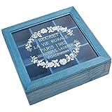 Uniquk 9 Sección de Madera Elegante Caja de Té Compartimientos Bolsa Contenedor Cofre Almacenamiento Especias Nueva Tienda Cajas Cosméticos Jewelly 24 x 24 x 7 Cm - Azul