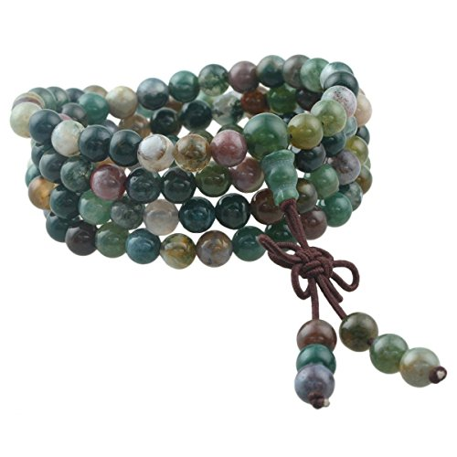 Shanxing 108 Prayer Beads Mala Bracelet Tibetan Buddhist Buddha Meditation Stone Necklace,Moss Agate