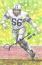 Joe Schmidt Autographed Detroit Lions Goal Line Art Card Blue HOF 13177 - NFL Autographed Football Cards