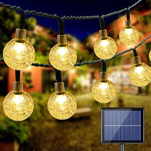 Catena Luminosa Esterno Solare, BrizLabs 20M 100 LED Luce Stringa Solari Cristallo Globo Impermeabile Lucine Led Decorative Interno per Giardino Patio Cortile Matrimonio Festa Natale, Bianco Caldo