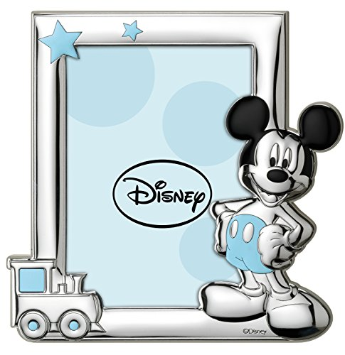 Disney Baby - Cadre photo à poser - en argent - pour table de nuit/chambre d'enfant - cadeau de baptême/anniversaire - motif Mickey Mouse