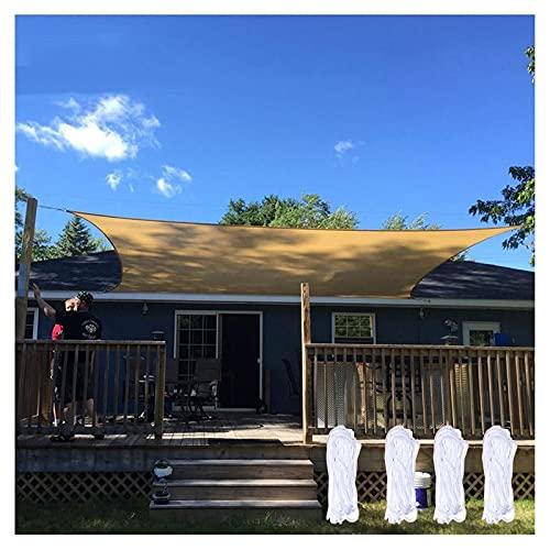 Toldo sombra,Toldo vela Toldo Rectángulo Vela Tela Oxford, Revestimiento De PU Impermeable, 98% De Protección UV, Toldo Sombrilla Terraza Exterior Césped Jardín Color Arena 2m,(Size:3.6*3.6m(12'*12'))