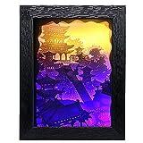 Douup Pavillon Landschaft 3D Shadow Box LED Nachtlicht, Papercut-Leuchtkästen, Dekorative Nachtlampe, Stimmungslicht Für Baby Nursery Kids Schlafzimmer Wohnzimmer