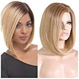 BERON 15'' Short Straight Dark Roots Ombre Blonde Bob Wigs Side Part Wig with No Bangs Wig Cap Included (Brown Ombre Blonde)