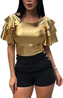 CBTLVSN Womens Casual Ruffle Short Sleeve Round Neck Sexy T Shirt