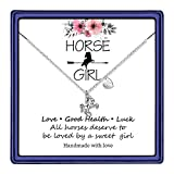 Hidepoo Horse Necklace for Girls, 14K White Gold Plated Initial Horse Necklace Valentines Horse Gifts for Girls Teen Toddler Necklace Kids Jewelry(A)