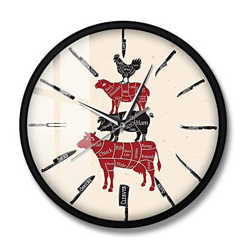 Cuchillos de Cocina, Reloj de Pared de carnicería para Chef, Cocinero, Cordero, Cerdo, Pollo, Carne, Cortes, diagramas para Meatman, Reloj, Reloj de Pared, Marco de Metal