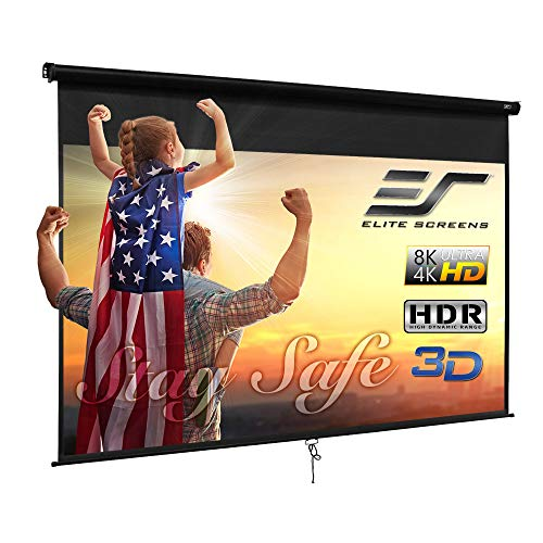 Elite Screens Manual B, 120-INCH 16:10, Manual Pull Down Projector Screen 4K / 8K Ultra HDR 3D Ready with Slow Retract Mechanism, 2-YEAR WARRANTY, M120X