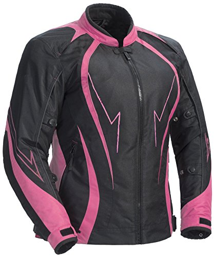 Juicy Trendz Damen Motorradjacke Frauen Wasserdicht Cordura Textil Motorrad Jacke Pink X-Large (JT-153)