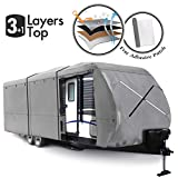 XGEAR Thick 3-Ply Top Panel Travel Trailer Cover- Ripstop Waterproof RVs Covers with Storage Bag and Windproof Buckles (27'-30')