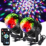 Litake Discokugel Discolicht, 3W Party Lichter DJ Bühnenbeleuchtung 7 Farben Modi Musikgesteuert Fernbedienung LED Patry Lampe für Kinder Party Halloween Weihnachten, 2 Stück