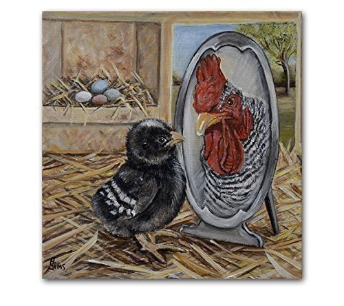 Chicken Artwork Print Farmhouse Rooster Kitchen Art Wall Decor 8x8 inch Matted Fits 11x14 Frame