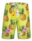 APTRO Men's Swim Trunks Long Pineapple Swim Shorts Mens Bathing Suits Yellow XL