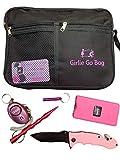 Girlie Go Bag Ladies Self Defense Kit Bag -Stun Gun, Kubaton, Personal Alarm, Safety Knife & Whistle