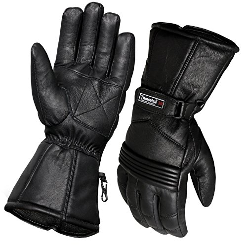 Guantes térmicos de piel para motocicleta y motocicleta, protección impermeable para invierno, verano (L)