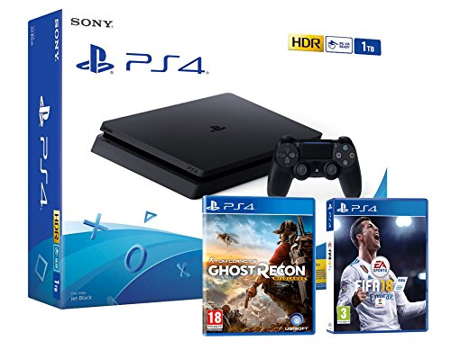 Sony PS4 Slim 1Tb Negra Playstation 4 (2 Juegos Incl.) FIFA 18 + Tom Clancy'S: Ghost Recon Wildlands