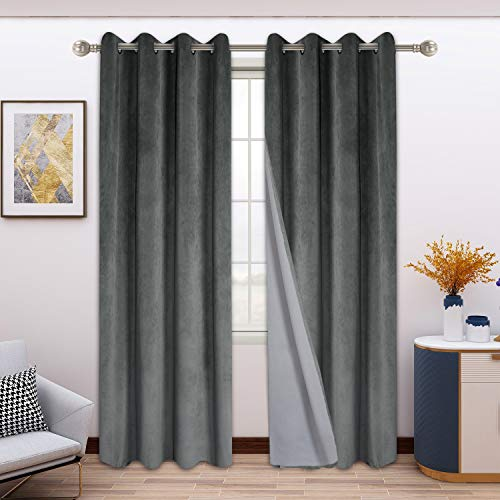 FLOWEROOM 100% Blackout Velvet Curtains for Bedroom, 52 x 84 Inches Long, Dark Grey - Thermal Insulated Window Curtains for Living Room, Light Blocking Energy Saving Grommet Drapes, Set of 2 Panels