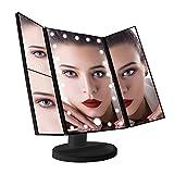 Leeron Miroir de Maquillage Lumineux 22 LED, Maquillage Miroir à Grossissement X1 / X2 / X3 Triple Pliant de Table Écran Tactile 180 Degrés de Rotation pour la Beauté avec câble USB