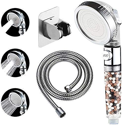 KAIYING Filtered Shower Head with On Off Switch, High Pressure Handheld Showerhead with Beads, Detachable Filter Showerhead with 5Ft Hose, Self Adhesive Bracket