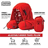 GRAND TRUNK Hooded Travel Pillow - Perfect Neck Pillow for Car or Airplane Sleeping - 360 Neck and Head Support, High-Grade Memory Foam, Adjustable Light-Blocking Hood, Carry Bag, Bright Crimson