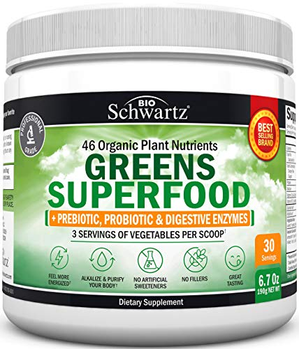 Super Greens Powder - 3 Servings of Veggies per Scoop | 45+ Organic Green Superfoods (Alfalfa, Chlorella, Spirulina & More) + Digestive Enzymes - Keto Friendly Vegan Supplement