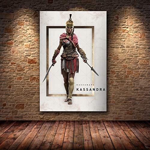 Sin Marco Cuadros 40X50Cm - Assassin'S Creed Odyssey Origen Poster Decoración Pintura sobre Lienzo De Alta Definición Lienzo Pintura Arte Carteles E Impresiones,Wkh-374-1