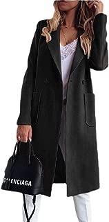 Womens Elegant Lapel Double Breasted Knee Length Outwear Woolen Coat Jacket