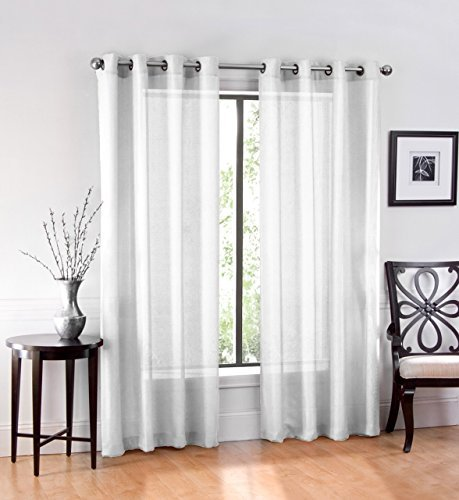 Ruthy's Textile 2 Piece Window Sheer Curtains Grommet Panels, White