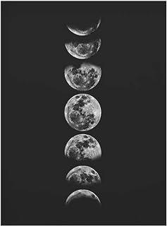Peintures décoratives Minimaliste Pleine Lune Poster Art Noir Blanc Phases de la Lune Prints Système Solaire Toile Image P...