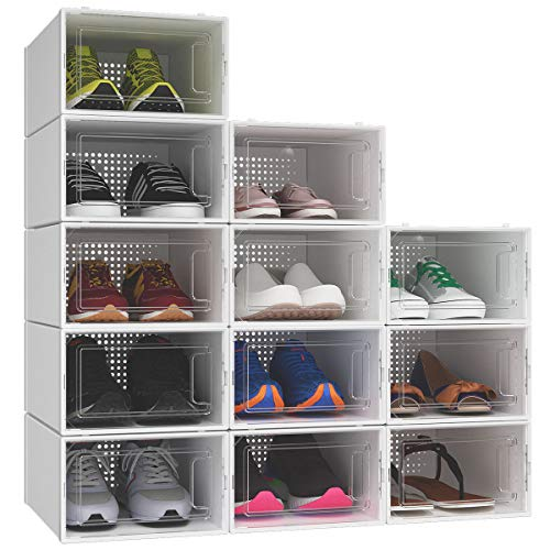 YITAHOME Shoe Box, Set of 12 Shoe Storage Organizers Heavy Duty Stackable Clear Shoe Storage Box Rack Clear Drawer-White