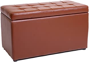 Yxsdd PU Leather Foot Stool Storage Stool Pouffe Bench Seat Ottoman with Lid Stool Support Upholstered Footrest Cushion fo...
