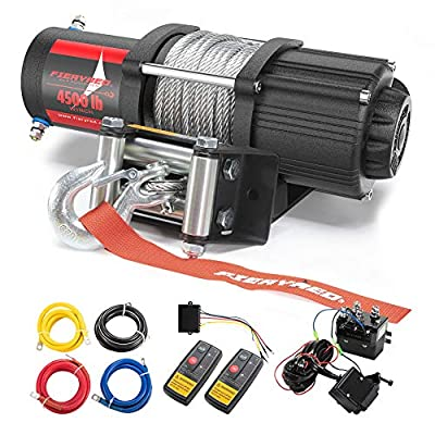 FIERYRED 12V 4500LBS Electric Steel Cable ATV Winch Kits for Towing ATV/UTV Off Road Trailer with Wireless Remote Control Mounting Bracket